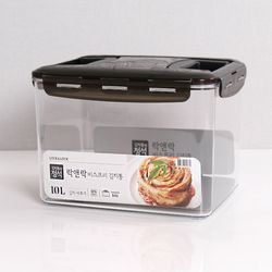 비스프리 투핸들 김치통 블랙 10L LBF886B 투명용기