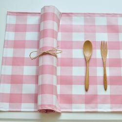 와이드 체크 방수식탁매트(핑크50cm)