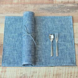 헤링본 방수식탁매트(블루-60cm)
