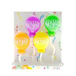 레인보우 컬러 풍선 생일초 (솔리드)