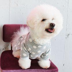 [DOG] 몽페레 플러피 도트원피스 (Cloudy Gray)