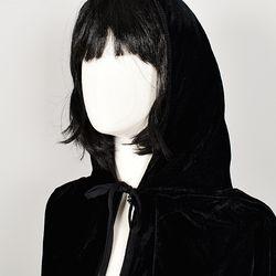 할로윈 의상 벨벳후드 망토 여성용 블랙