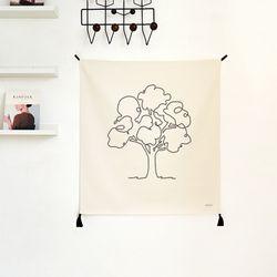 나무드로잉 패브릭 포스터.가리개 커튼 (행잉L 사이즈)