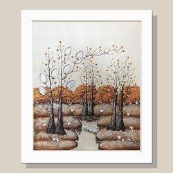 금전운 돈나무 그림액자 유화그림 풍수그림(흰색)12호