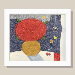 정열의 꽃그림 그림액자 유화그림 풍수그림(흰색)12호