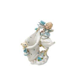 두루미와 아기 천사 장식 꽂이 - 블루