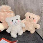 귀여운 테디베어 곰돌이 털 인형 뜨개질 에어팟케이스
