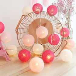 인테리어 LED 코튼볼조명 (핑크) 앵두전구 캠핑전구