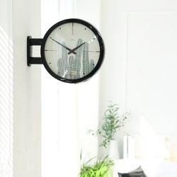 양면에서 시간확인이 가능한 모던양면시계 블랙 선인장