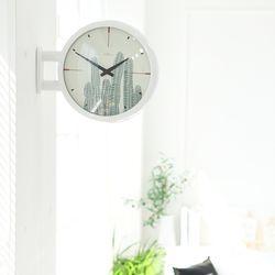 양면에서 시간확인이 가능한 모던양면시계 화이트 선인장
