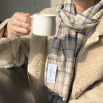 natural beige blue check muffler ( hand made )