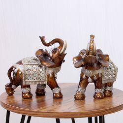 (kcrz076) 엔틱 브라운 코끼리 장식 2P set