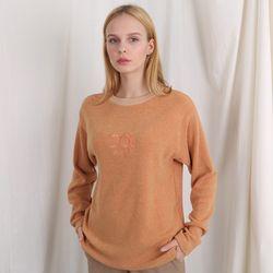 TOi 자수 로고 넥 포인트 긴팔티셔츠 오렌지