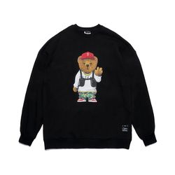 V BEAR OVERSIZED HEAVY SWEAT CREWNECK BLACK