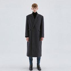 WOOL OVERSIZE CHECK COAT BLACK
