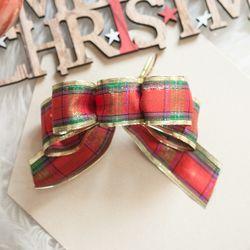 레인보우체크 리본 (3-7cm) 2단 크리스마스 TRMBLS