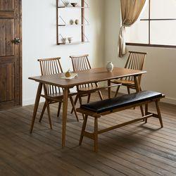 메이 원목 4인용 6인용 다이닝 식탁 세트(의자3개+벤치1개)