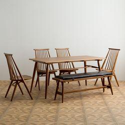 메이 원목 4인용 6인용 다이닝 식탁 세트(의자4개+벤치1개)
