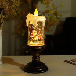 산타와 눈사람 촛불 워터볼 조명
