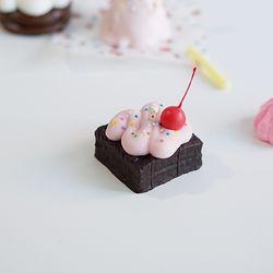 네모 초코 케이크 캔들