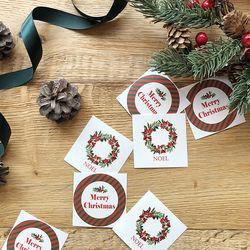 크리스마스 원형스티커 2종(10매입)