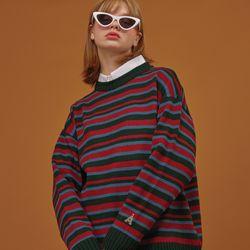 하이틴 컬러믹스 스웨터 딥그린