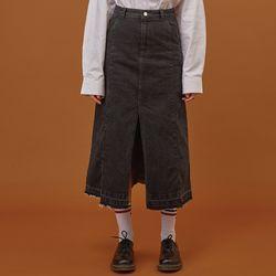 Long Denim Slit Skirt Black