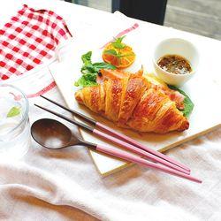 장미목 옻칠 파스텔 수저세트 (마카롱)