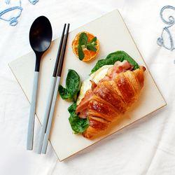 장미목 옻칠 파스텔 수저세트 (몽블랑)