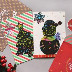 크리스마스 스크래치 카드&봉투 10SET