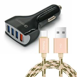 차량용 4포트 USB 시거잭 급속충전기 + C타입 케이블