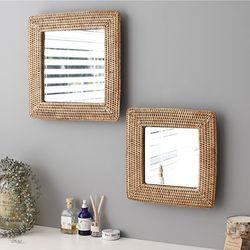 디자인 라탄 거울-사각(소)