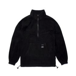 TRIANGLE FLEECE OVERSIZED ANORAK JACKET BLACK
