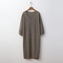 Cashmere Wool V-Neck Dress