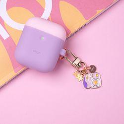 엘라고 에어팟&버즈 키링-핑크카메라