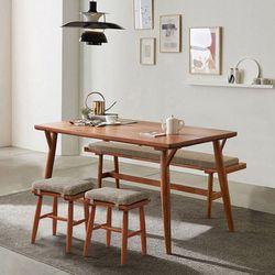 리치 6인용 원목 식탁테이블 1500세트 (벤치1개  스툴2개포함)