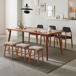 리치 6인용 원목 식탁테이블 2000세트 (의자3개 스툴3개포함)