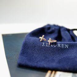 제이로렌 93M01709 십자가 로즈골드 큐빅 실버 귀걸이