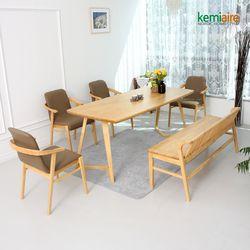 모리스 6인원목식탁세트(벤치의자) KEP-611