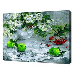 [명화그리기]4050 하얀 레이스 위의 꽃과 초록사과 28색 정물화