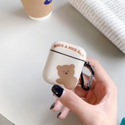 에어팟 1 2세대 곰돌이 유광 실리콘 케이스 키링 세트