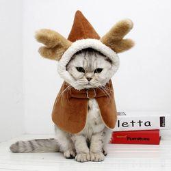 예펫 루돌프 케이프 강아지 고양이 망토 후드