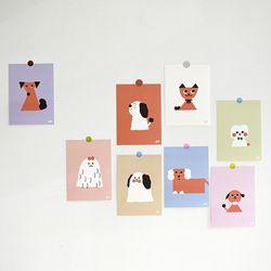강아지 일러스트 엽서 8종 세트 리틀프렌즈