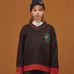 V넥 아가일 팝시클 스웨터 블랙