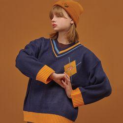 V넥 아가일 팝시클 스웨터 네이비
