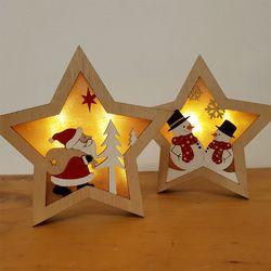 산타와 눈사람 작은별 우드조명