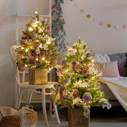DIY 호텔식 핑크로즈 크리스마스 중형 트리(전구선택)