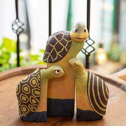 BQ5713 목각 거북이 인형 장식품 3p