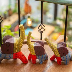 BQ5715 목각 코끼리인형 장식품 3p