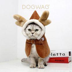 크리스마스 루돌프 망토 강아지 자켓 고양이 케이프